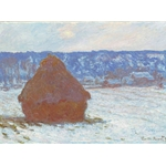Claude Monet Stack of Wheat Snow Effect Overcast Day